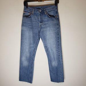 Levi's 501 High Rise Raw Hem Jeans Size 24